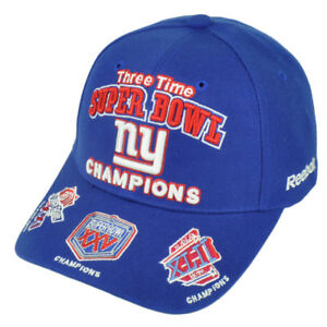7d694175d75 New York Giants 3 Time Super Bowl Champions Unisex Reebok Baseball ...
