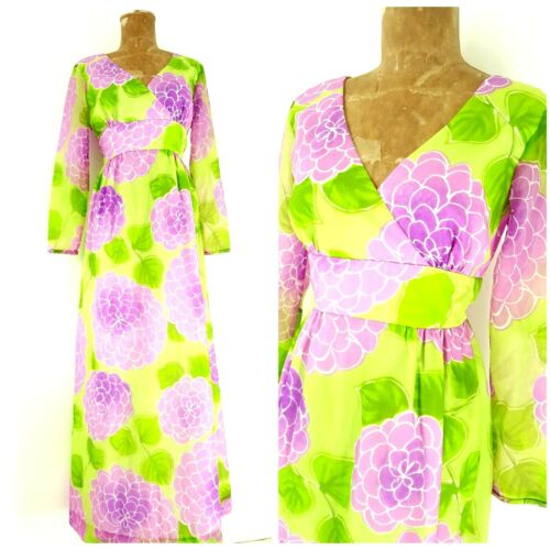 Vintage 60s Malia Honolulu Dress Size Medium Empir