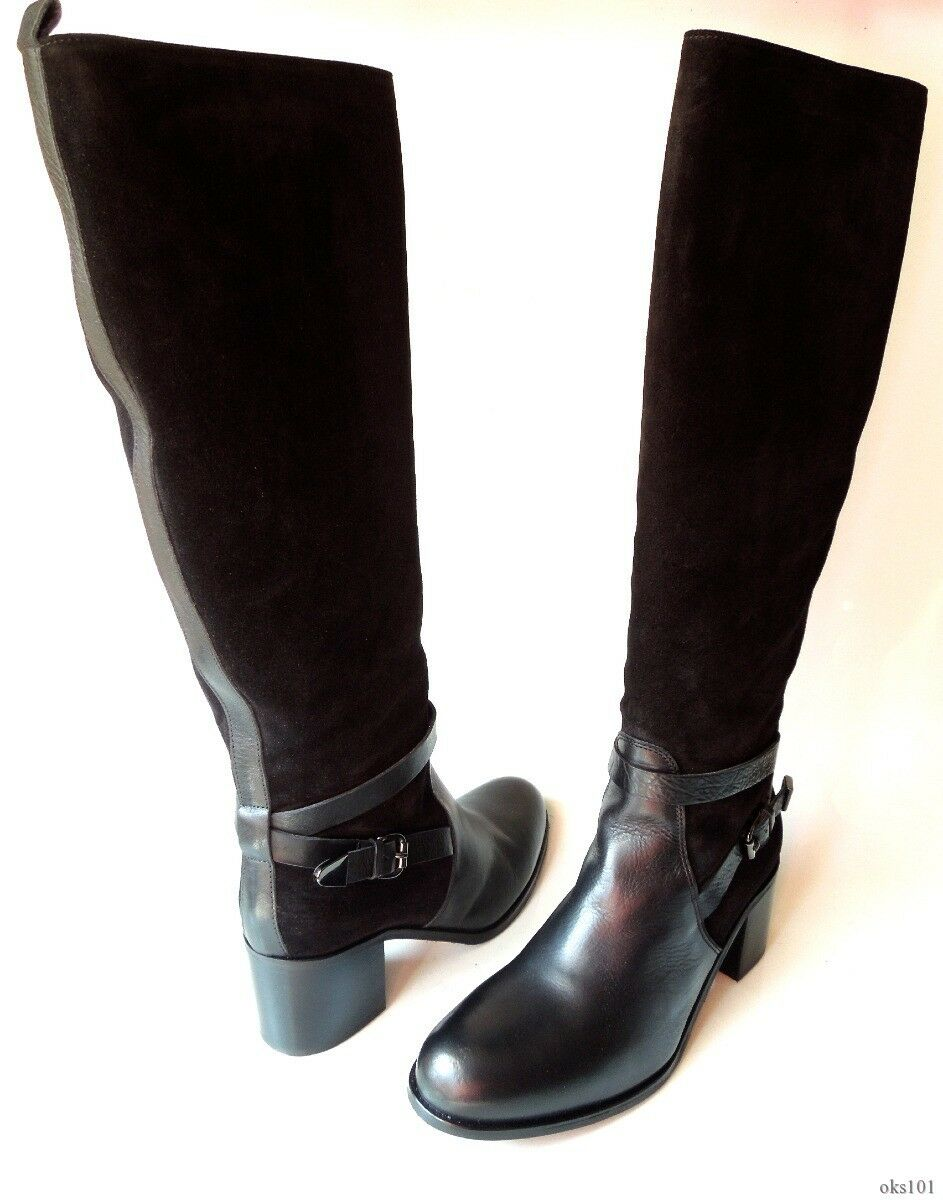 new 524 Cordani black leather/suede zipper TALL BOOTS Italy 40.5 US 10.5