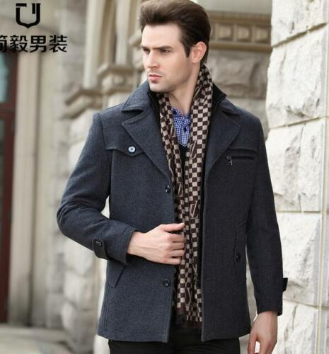 Hommes Manteau Outdoor Single-breasted Woolen Stand col épaissir Chaud Veste D/'Hiver