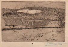 Richard Ranft. Paysage. Eau-Forte et pointe sèche signée vers 1900.