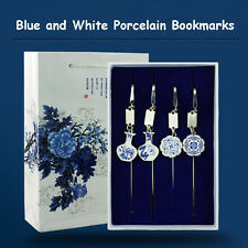 1pc Metal Chinese Blue-and-White Porcelain Bookmark With Tassel Souvenir Gift