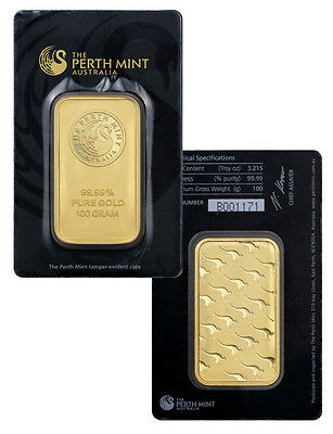 Perth Mint 100 Gram .9999 Fine Gold Bar -New Sealed w/Assay Certificate SKU30316