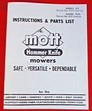 D9 D95 Mott Hammer Knife Belly Mower Owners Manual For Ih Farmall Cub Tractor