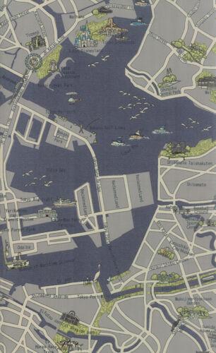 MODA Fabric ~ NEW PASSPORT ~ Moda Classic Tokyo Map Cloudy 1//2 yd 33011 19
