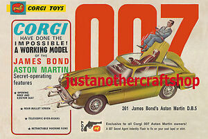 CORGI-TOYS-261-James-Bond-Aston-Martin-DB5-1966-A3-dimensioni-Poster-illustrativo-sign