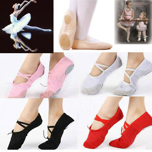 Kids Adult Soft Split Sole Ballet Dance Shoes Gymnastics Shoes Slippers Canvas