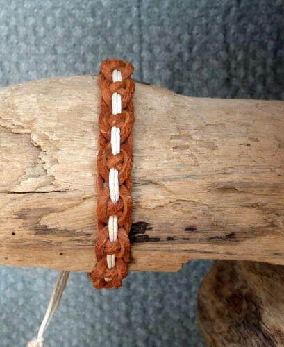Bracelet réglable pour ado ou homme en cuir véritable naturel et coton écru
