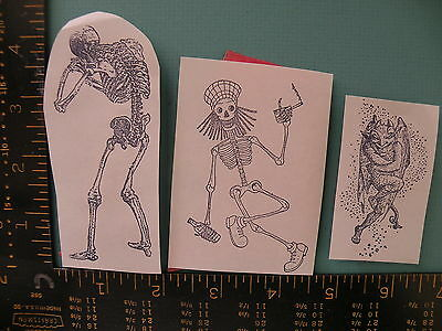 Skeletons and Devil Lot of (3) - Unmounted Rubber Stamps