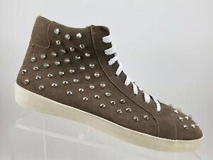 Steve-Madden-Taupe-Leather-Lace-Up-High-Top-Studded-Sneakers-Shoes-Womens-8M