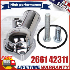 New Chrome 15 Degree Water Neck Thermostat Housing Small Block Chevy V8 350 454