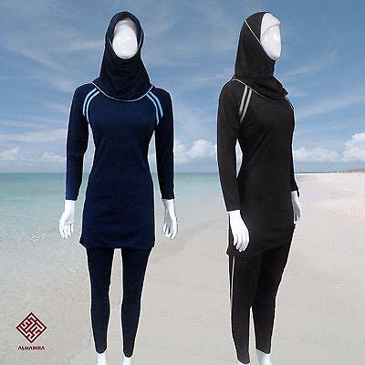 Costume da bagno da donna di tipo burkini islamico musulmano a maniche corte