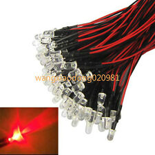 100pcs Lot 100 x Pre wired 5mm Bright RED LEDs Bulb 20cm Prewired 12V LED Lamp
