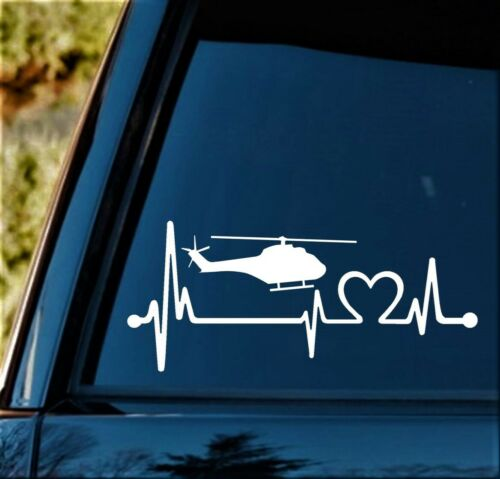 K1165 Helicopter Heartbeat Lifeline Decal Sticker Military Veteran Chopper Pilot