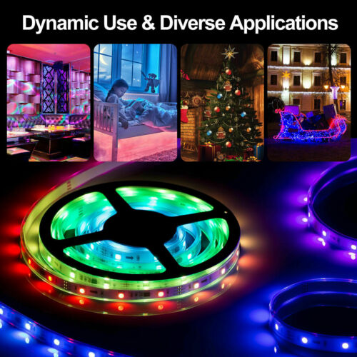16.4 Feet RGB 5050 Flexible Led Strip Lights SMD 24 Key Remote 12V DC Power Kit