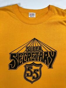 56bfbea814020 Details about Vintage Mens L 70s Super Secretary Funny Deadstock Graphic  Yellow T-Shirt