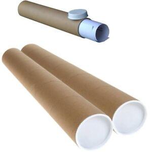 STRONG-CARDBOARD-POSTAL-TUBES-PLASTIC-END-CAPS-76MM-3-034-50mm-2-034-x-A0-A1-A2-A3-A4