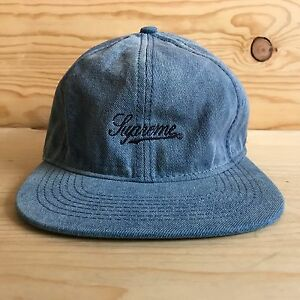 168c4aa6 SUPREME SCRIPT ENZYME WASHED FITTED HAT BOX LOGO INDIGO DENIM SS ...