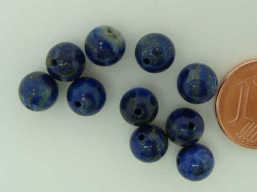 10 perles rondes 6mm PIERRE Bleu Beige Lapis-lazuli  DIY création bijoux PIER6