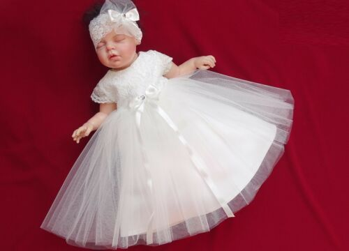 Babykleid Taufkleid Spitze/&Tüll  Gr Stirnband 62,68,74,80,86,92,98 ♥Leni♥