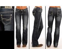 Rock & Roll Cowgirl Juniors' Boyfriend Fit Dark Wash Boot Cut Jeans W2-9624