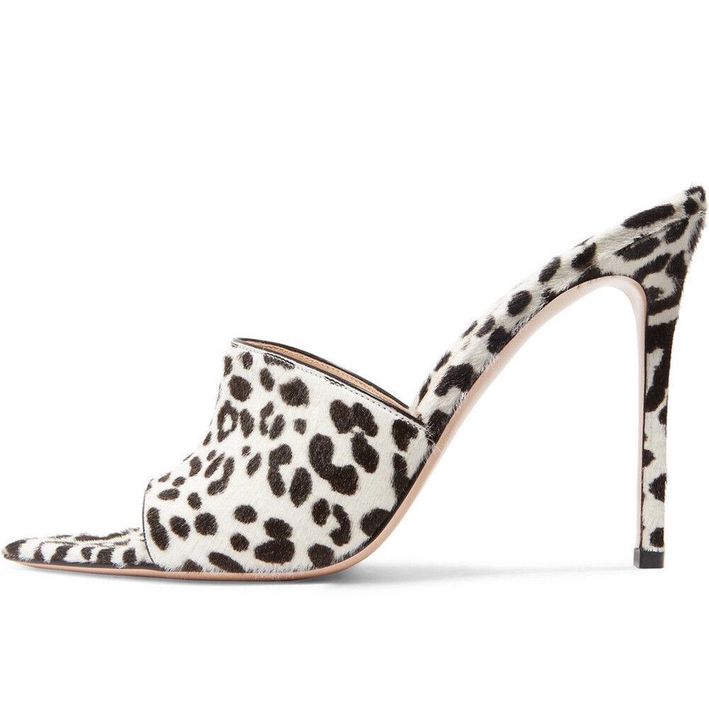 Mujeres Peep Zapatos Puntera Puntera Puntera Abierta Leopardo Zapatillas Mulas Sandalia De Bomba De Fiesta Tacón Stiletto  Esperando por ti