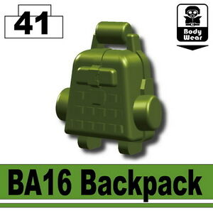 Green BA16 (W67)Backpack Army Equipment compatible with toy brick minifig stud