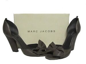 MARC-JACOBS-Dark-Gray-Lamb-Leather-Bow-Open-Toe-Heel-Pumps-Shoes-40-5-10-598