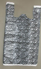 50 Zebra Print Design Plastic T Shirt Retail Shopping Bags With Handles 115x6x21