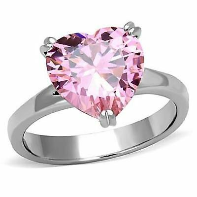 Stainless Steel CZ Heart-Cut 11mm Rose Pink Engagement Ring Size 5 6 7 8 9 10