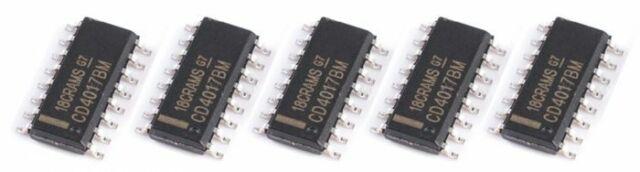 5 x CD4017 SOP16 Decade Counter / Divider CD4017BM CMOS IC Surface Mount