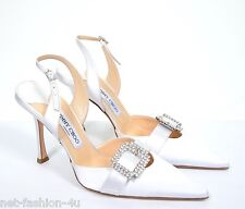 JIMMY CHOO GALE SATIN BRIDAL SLING BACKS SHOES UK 7.5 US 10.5 SWAROVSKI CRYSTALS