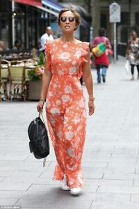 53cd5607a0 bnwt myleene klass orange floral chiffon ruffle maxi dress size uk 18 ...