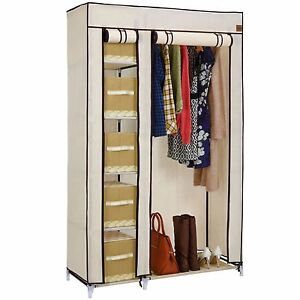 VonHaus Double Canvas Effect Wardrobe Clothes Hanging Rail Shelves Storage Beige