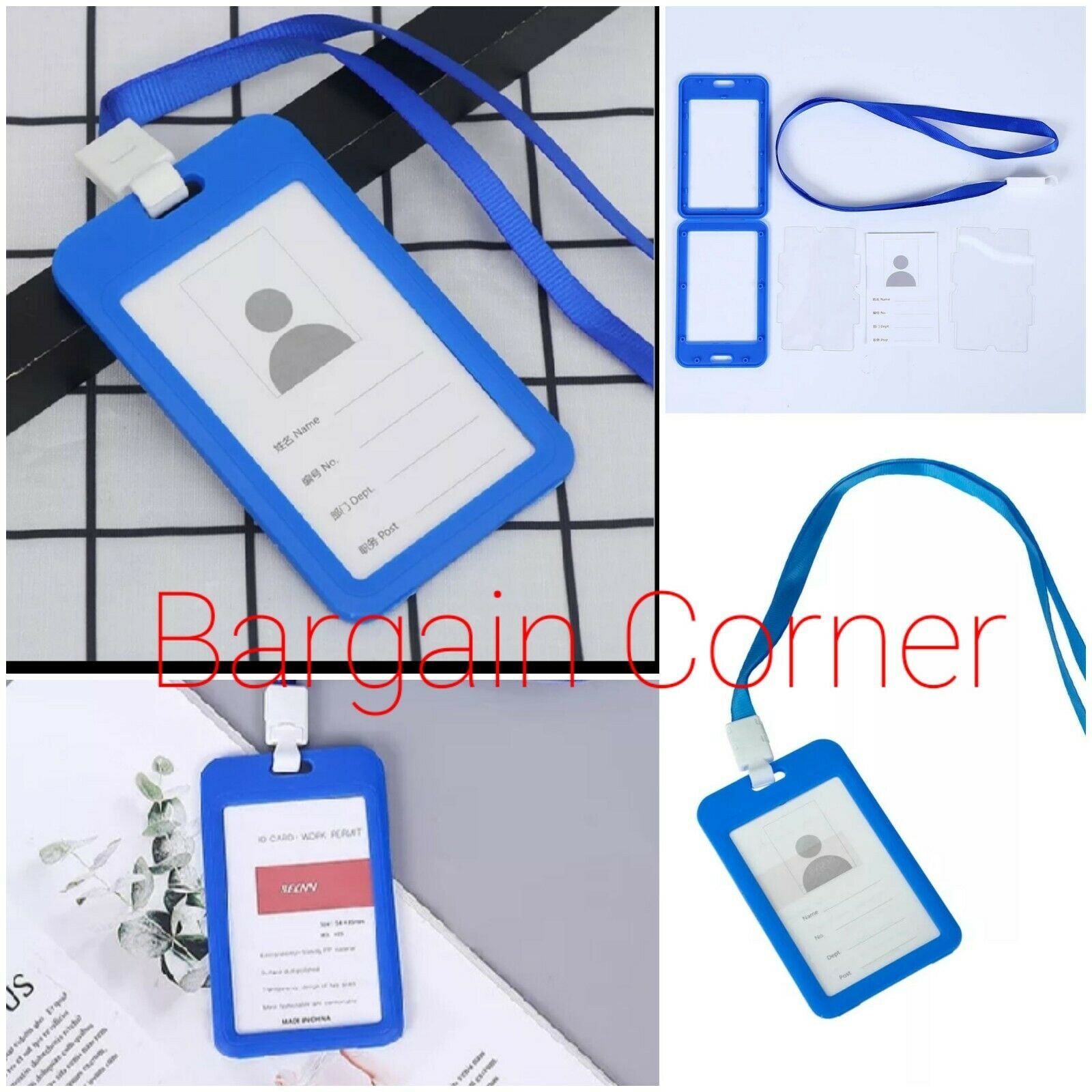 Blue Double Side School Work Office ID Card Identity Badge Holder With Lanyard