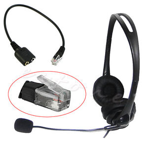 Headset-Cable-2-X-3-5mm-to-RJ9-Jack-Adapter-Convertor-PC-Telephone-Using-New