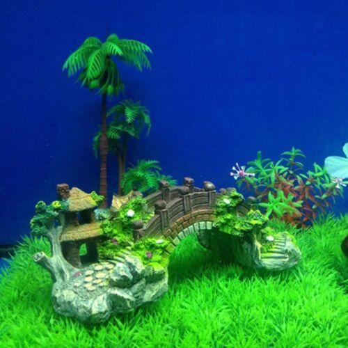 Fish Tank Aquarium Bridge Landscape Ornament Resin Tree Pavilion Cave Hide Decor