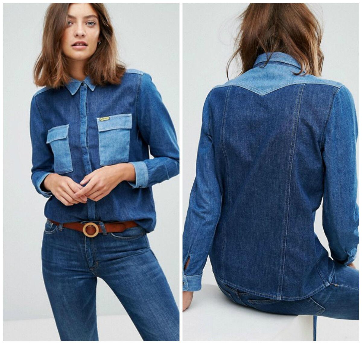 Neu Damen Wrangler von Peter Max West Jeans-Mischung Hemd Pop Art Künstler XS S
