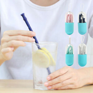 Reusable-Portable-Folding-Straw-Food-Grade-Silicone-Drinking-Straws-With-Case