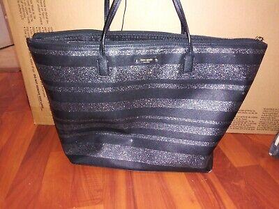 Kate Spade Hani Haven Lane Black Glitter Strap Tote Bag WKRU4787