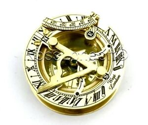 Brass-Sundial-Compass-Pocket-Sundial-brass-polished-West-London