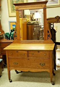 Antique 3 Drawer Vanity Chest With Fixed Mirror And Wheels