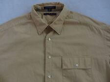 Tommy Hilfiger Men's L/S Button Down Golden Beige Dress Shirt - 17.5 (36-37)