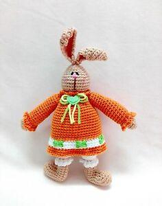 Handmade Knitted Soft Stuffed Crochet Doll Toy Bunny Rabbit