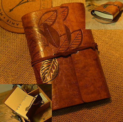 Vintage PU Leather Key Leaf String Bound Blank Diary Notebook Journal Travel GOS