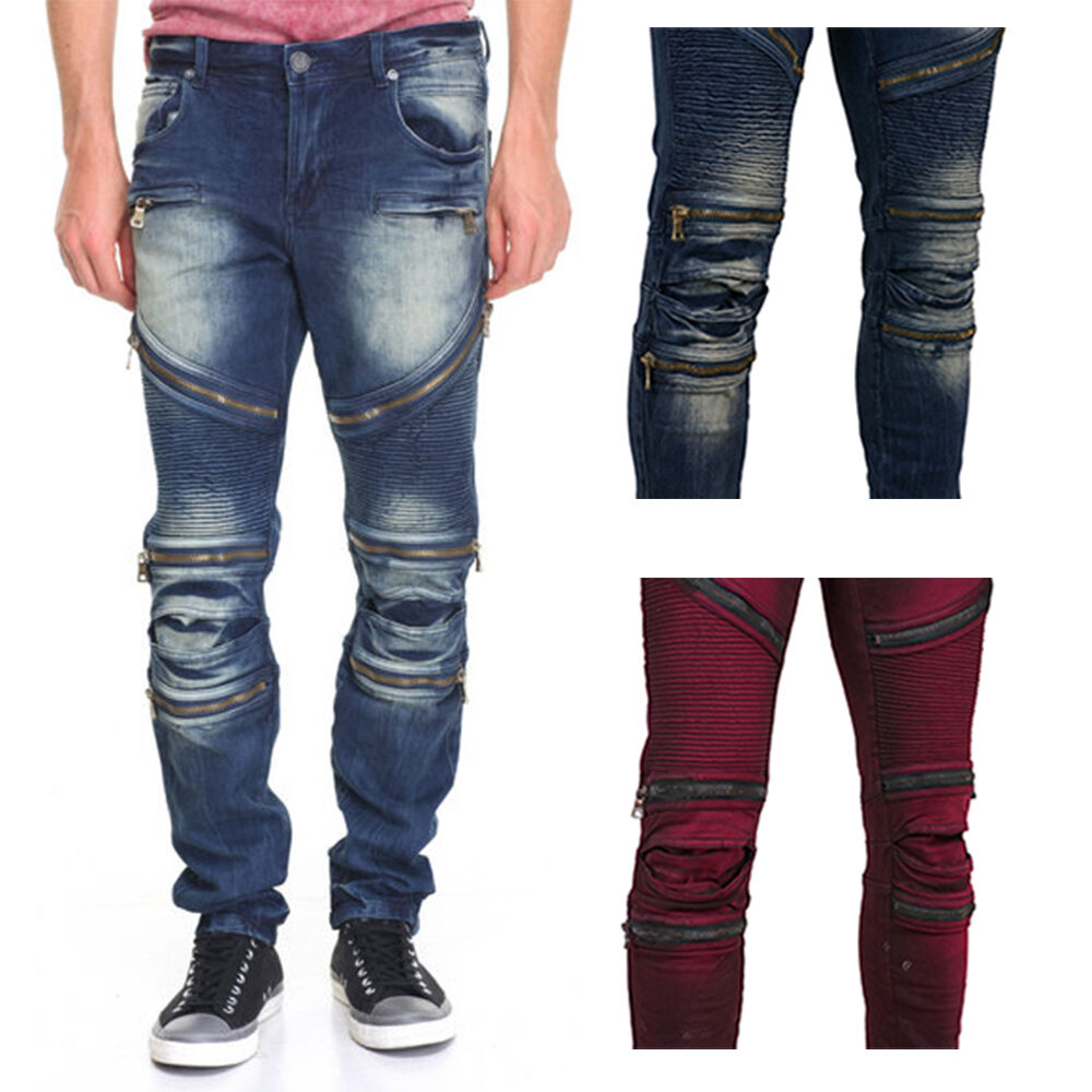 8IGHTH DSTRKT Men's Zip Panel Moto Jeans