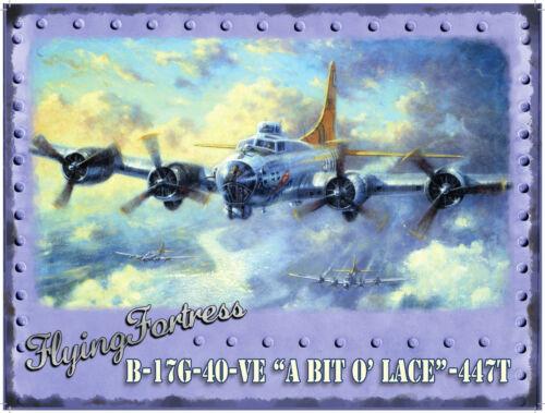 Nouveau 15x20cm Flying Fortress Bombardier WW2 Aircraft tole publicitaire