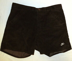 vtg-Nike-DARK-BROWN-CORD-SHORTS-size-37-beach-70s-80s-corduroy-surf-White-Label