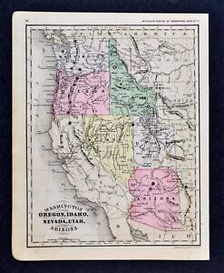 Details about 1889 McNally Map California Nevada Arizona Utah Idaho Oregon  Washington US West