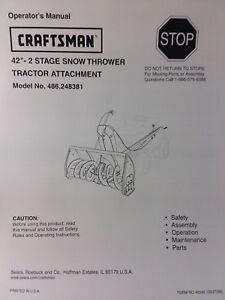 craftsman parts manual snowblower